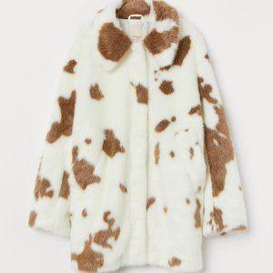 H&M CREAM CAMEL COW PRINT FAUX FUR JACKET S